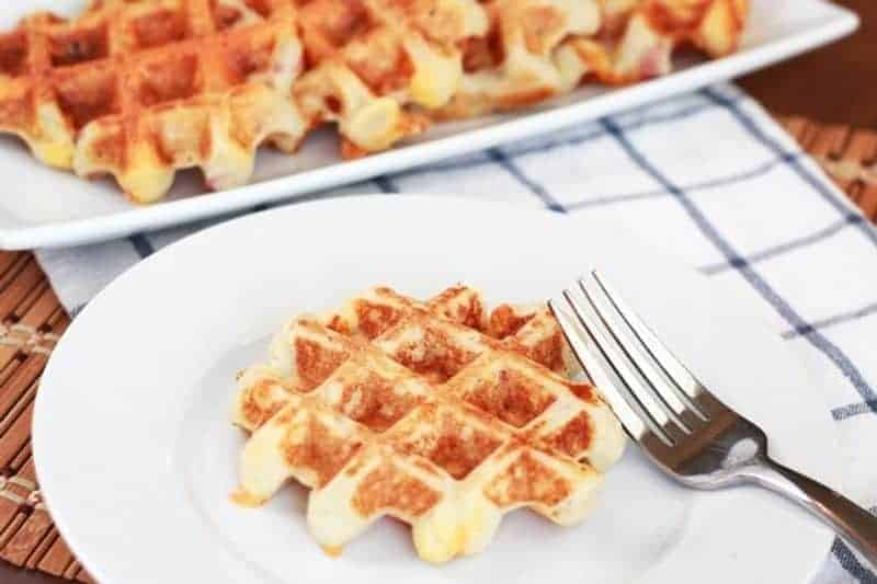 Mashed potatoes cooked in waffle iron