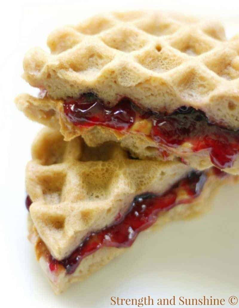 Waffle iron recipe for peanut butter and jelly sandwich