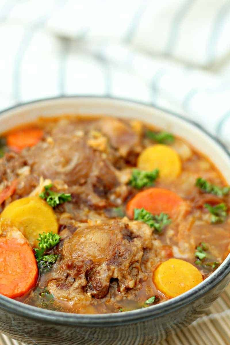 Close up of Instant Pot oxtail soup