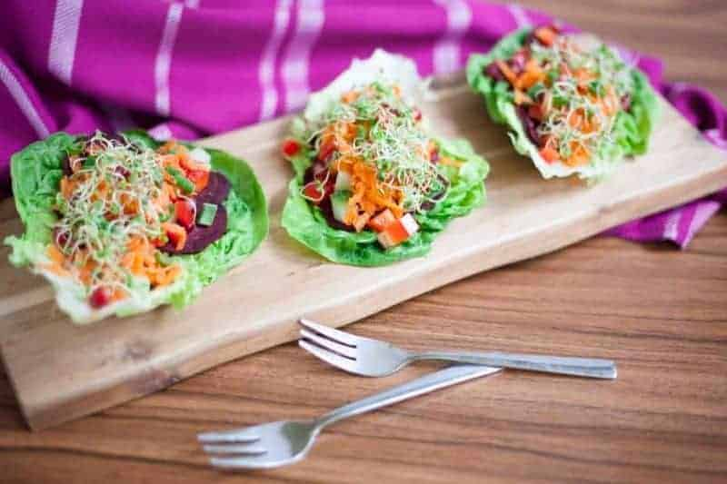 Serving beetroot wraps as earth day appetizer
