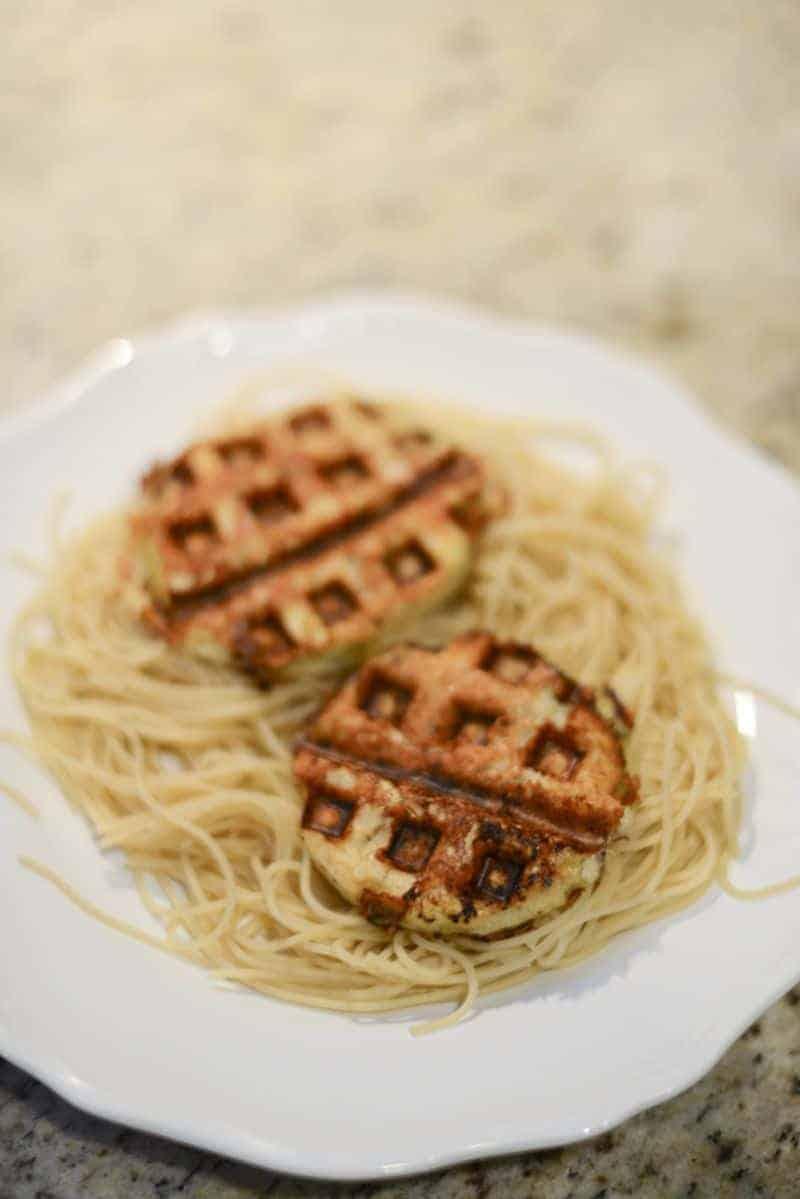 Eggplants cooked in waffle iron