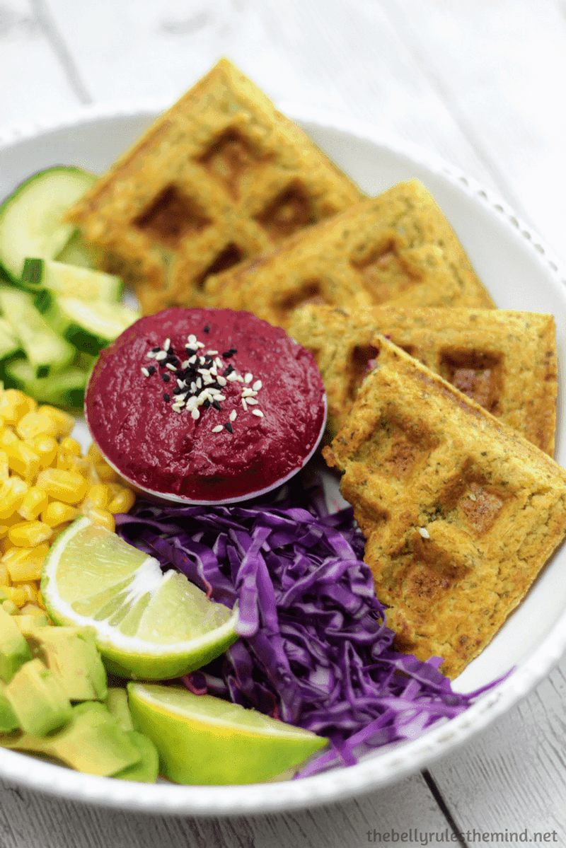 Falafel waffles in a bowl