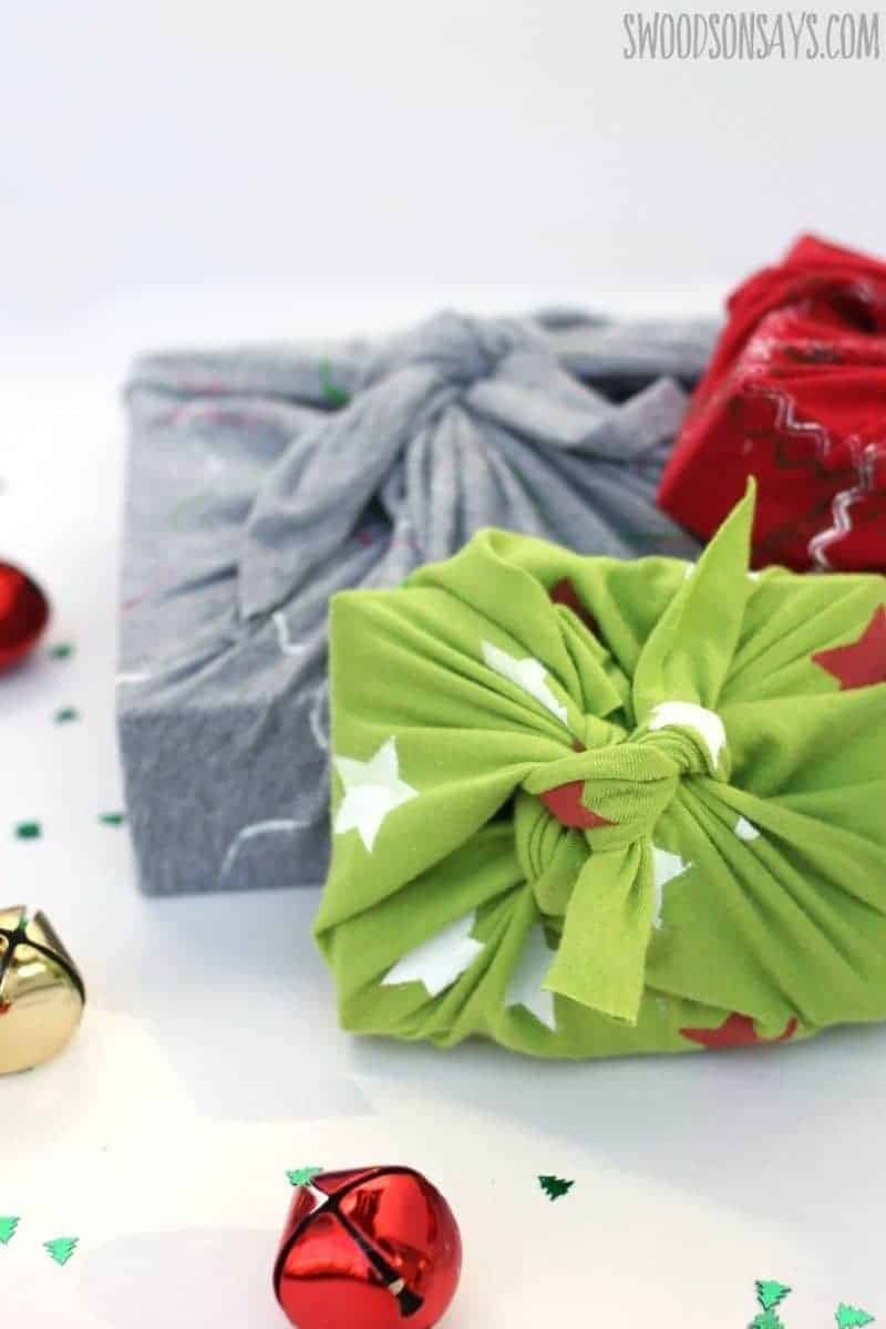 Repurposed shirts for gift wrap