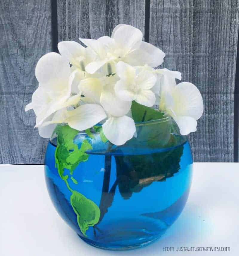 Earth Day vase with blue and green