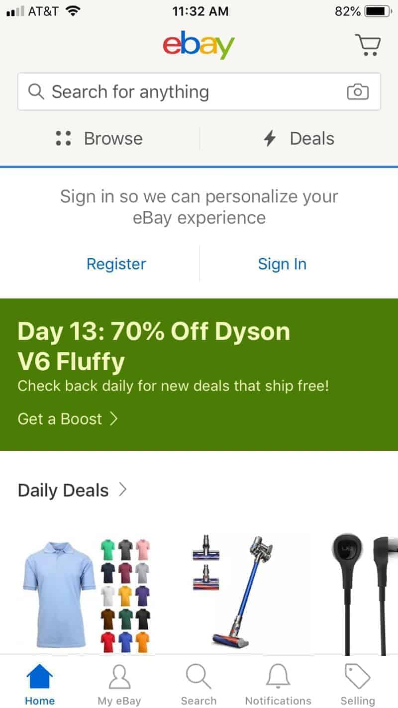 Signing up for eBay on the eBay app