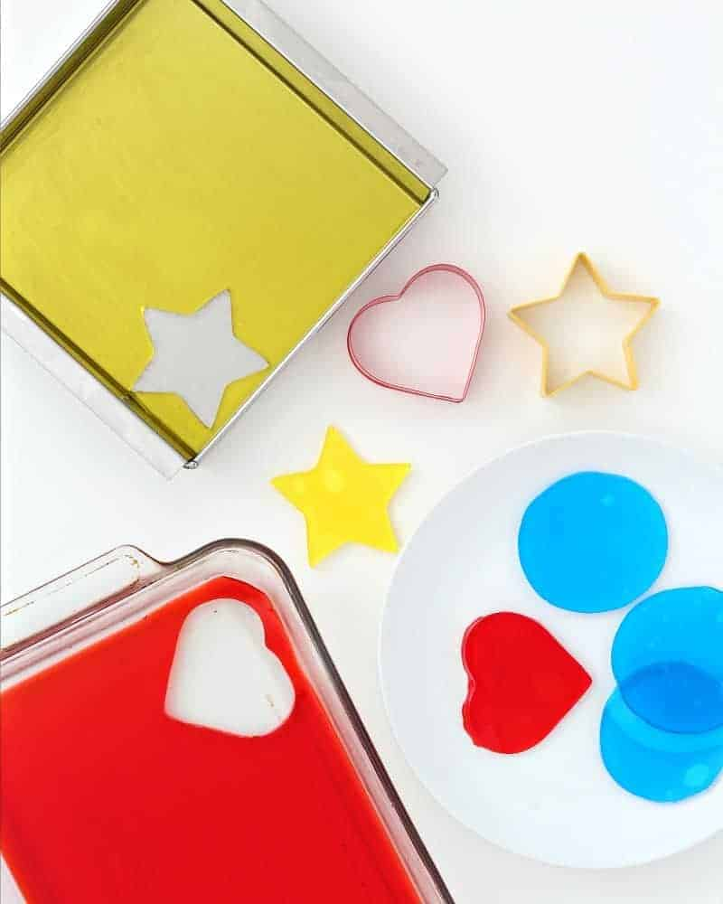 Cutting Jello Jigglers with cookie cutters