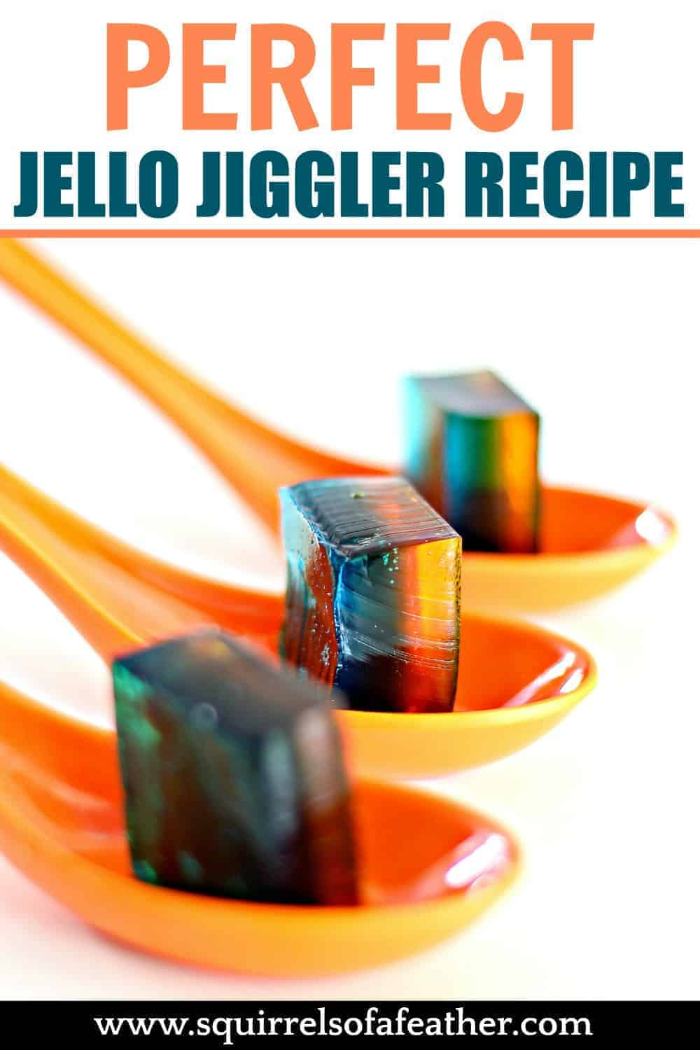 Three Jello Jigglers on three spoons