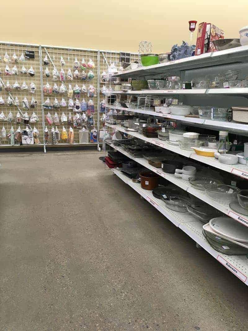 Shelves at a thrift store