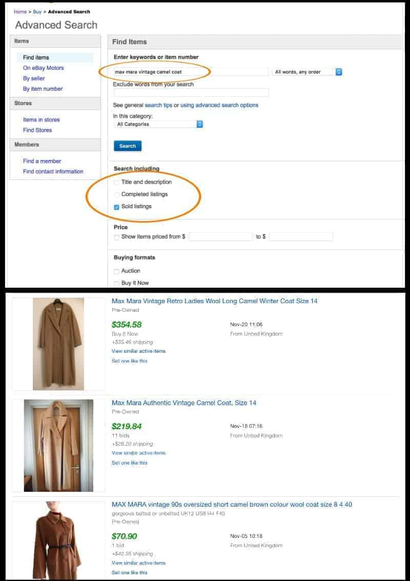 Showing how to use eBay advanced search