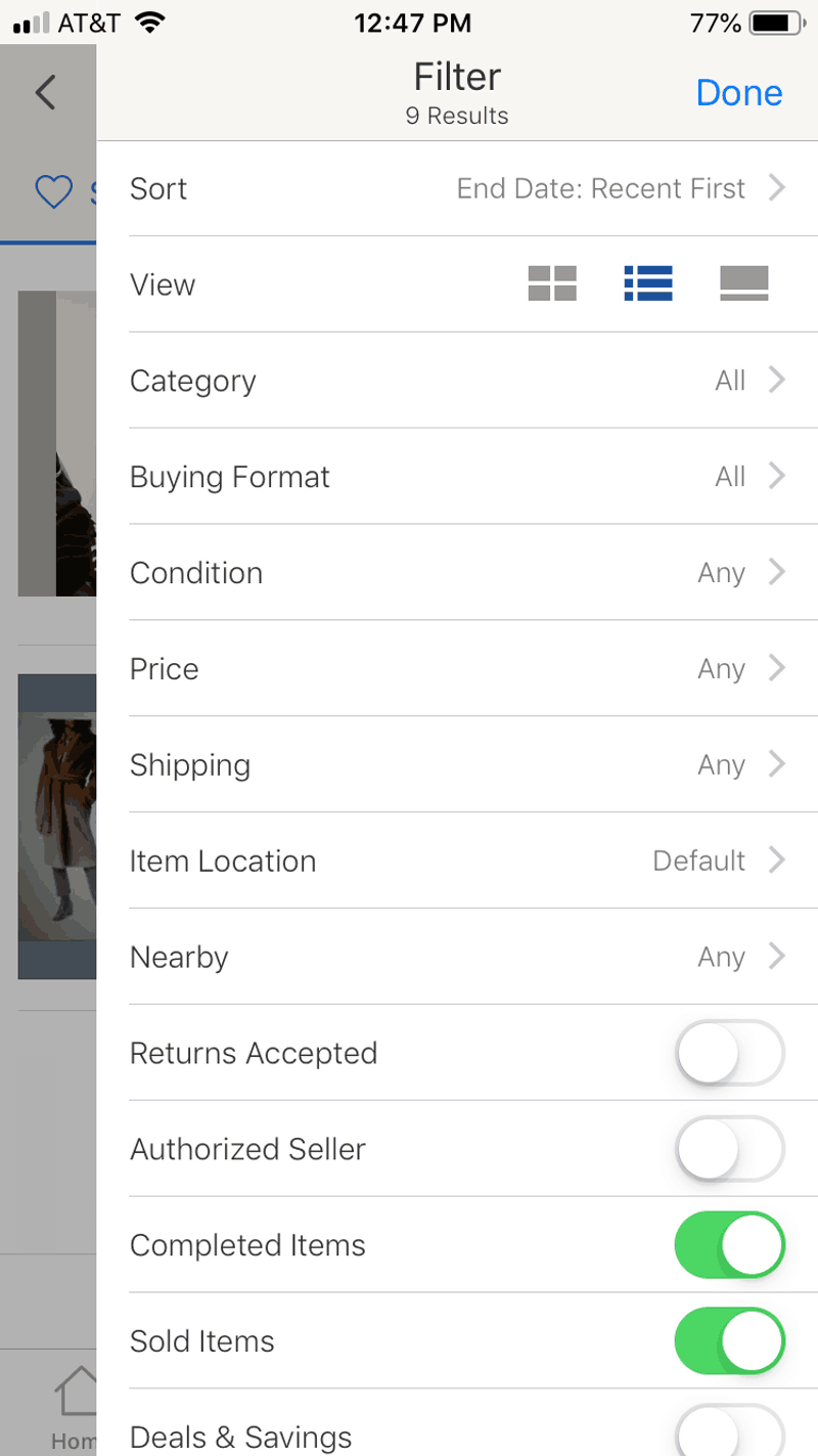 eBay app advanced search options