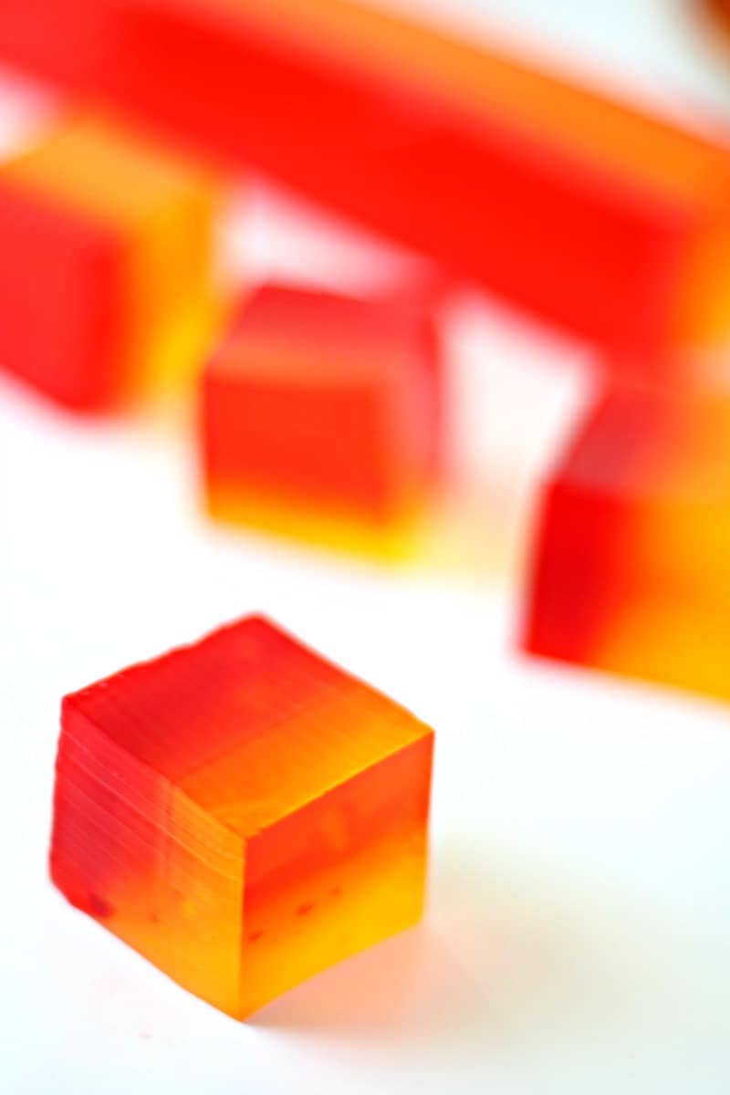 Close up of cubed finger jello on a plate