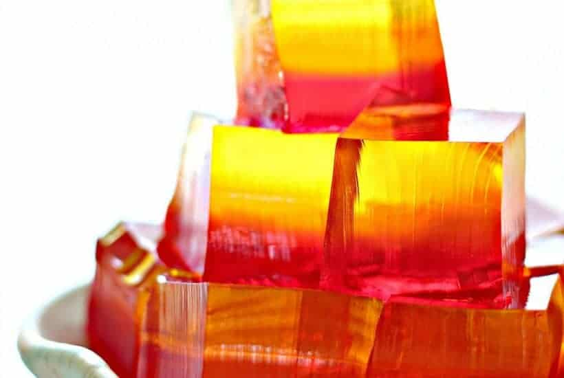 Beautiful ombre finger jello on a plate