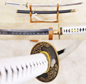 Steel katana gift for men on wood stand