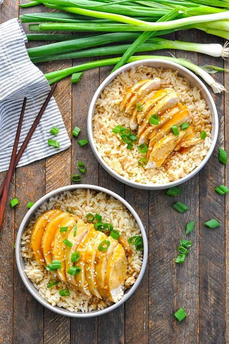 Instant Pot Chinese chicken recipe in a bowl on a table