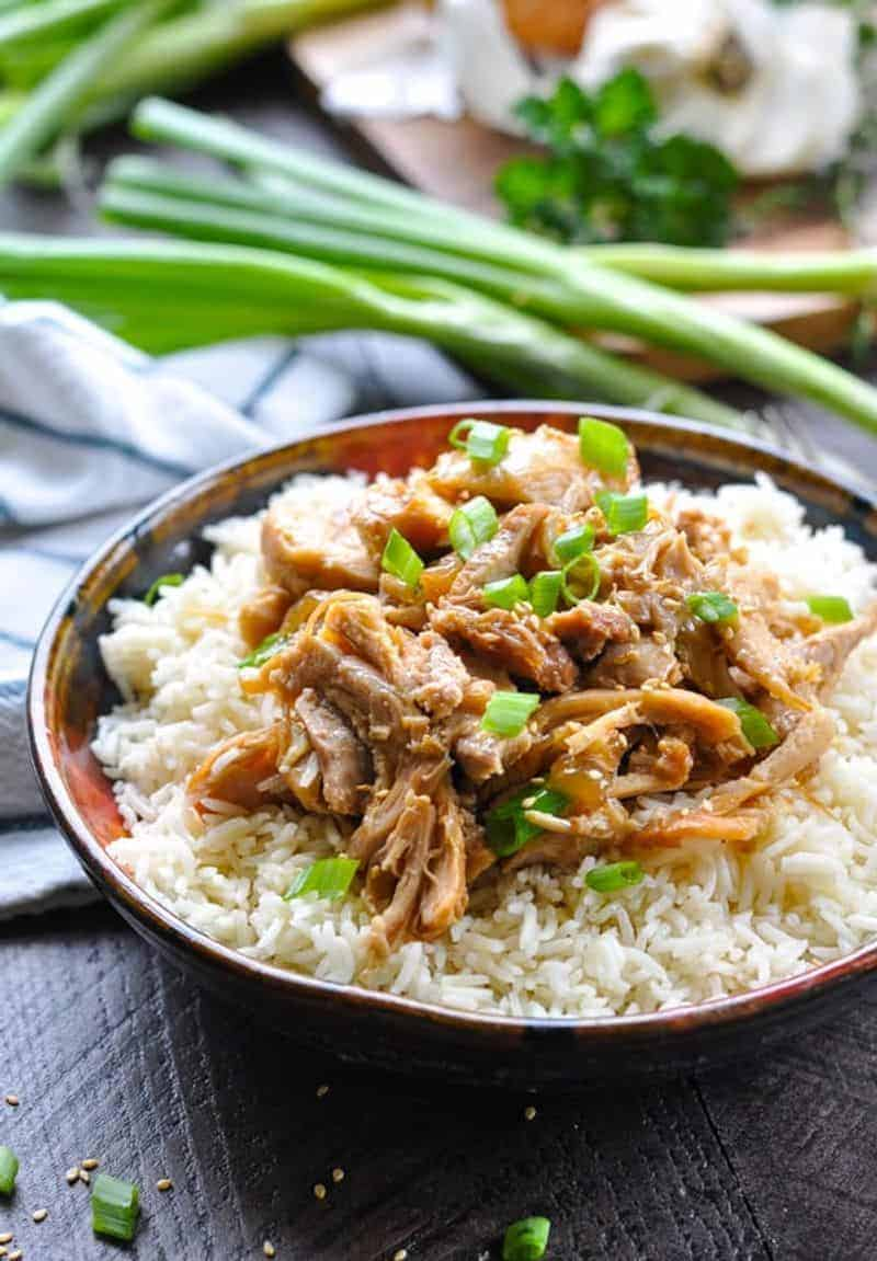 Instant Pot sesame chicken on a bowl with rice