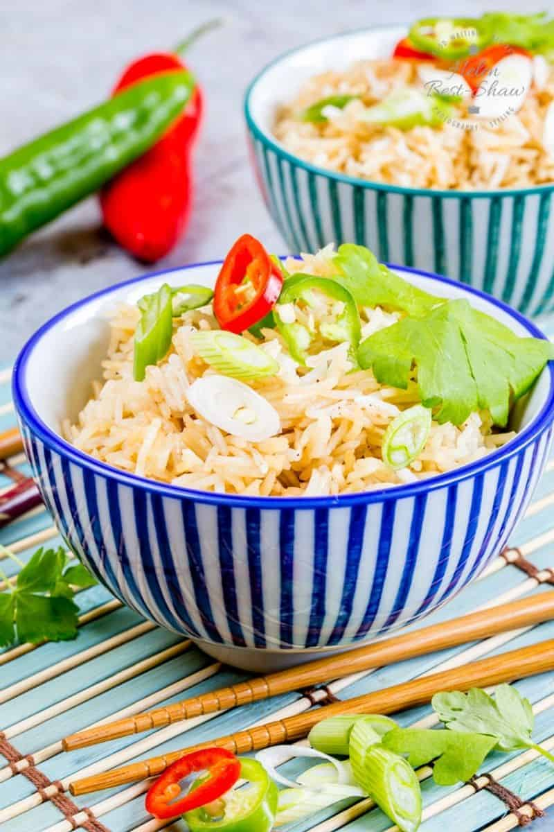 Two colorful bowls of Instant Pot Chinese rice