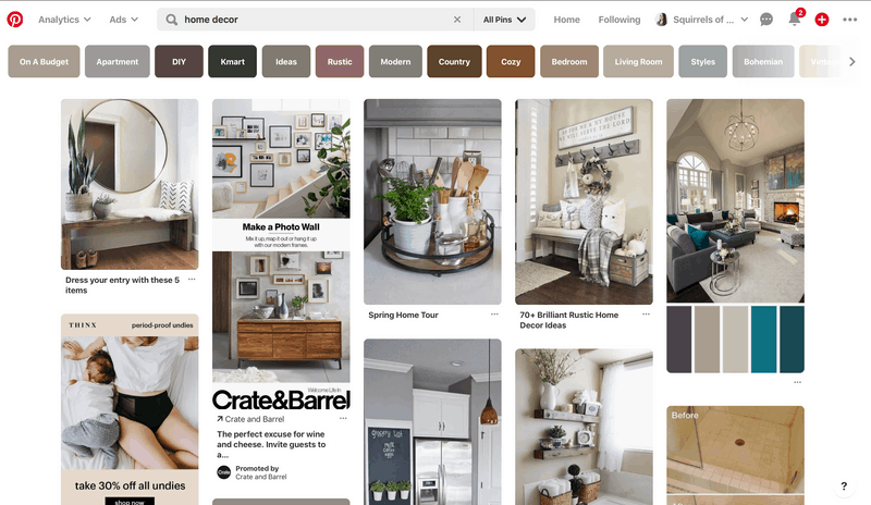 Showing how to name Pinterest boards with search box