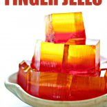 Finger jello on a blue plate