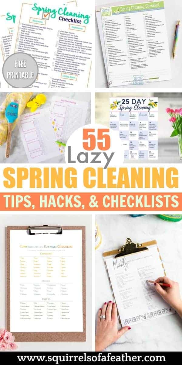 A bunch of spring cleaning checklists on a table