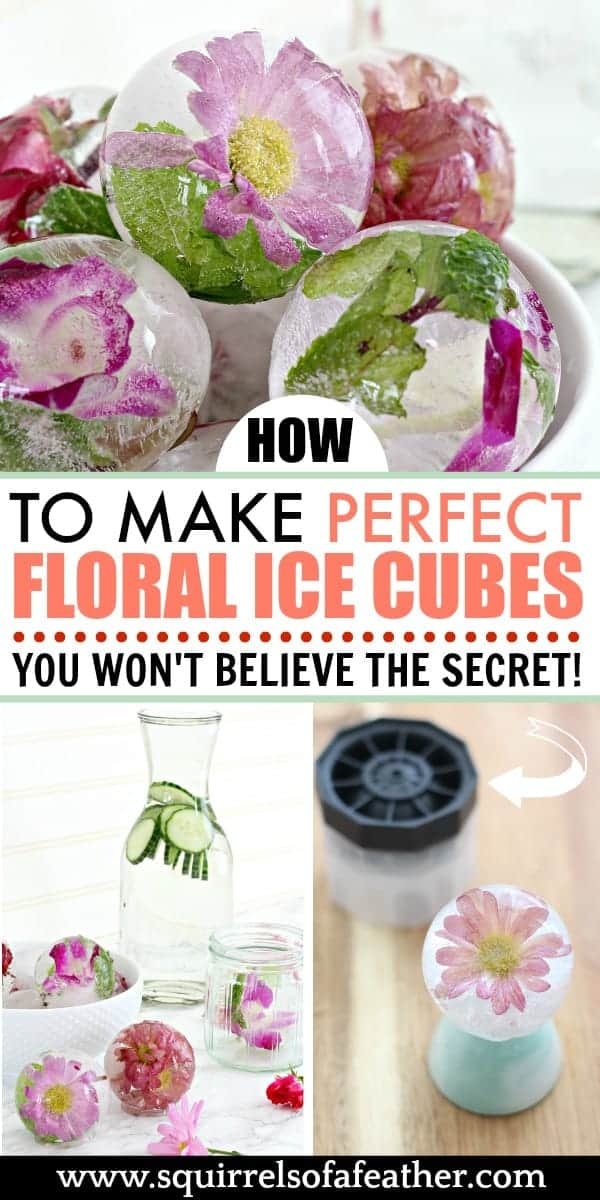 Clear ice balls filled with flowers