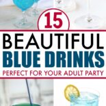 Four beautiful blue drinks with alcohol on a table