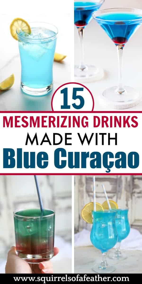 Four blue curaçao drink recipes on a table