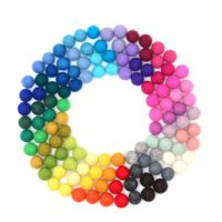 Glaciart One Wool Felt Balls, Felt Pom Pom Balls (120 Pieces) 1.5 Centimeter - 0.6 Inch, Handmade Felted 40 Color (Red, Blue, Yellow, Gray, Pastel and More) Bulk Small Puff for Felting and Garland