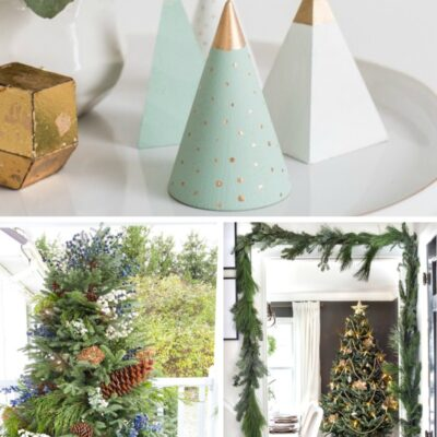 Three minimalist Christmas trees in different colors