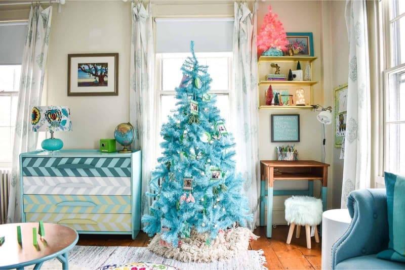 A colorful minimalist blue Christmas tree