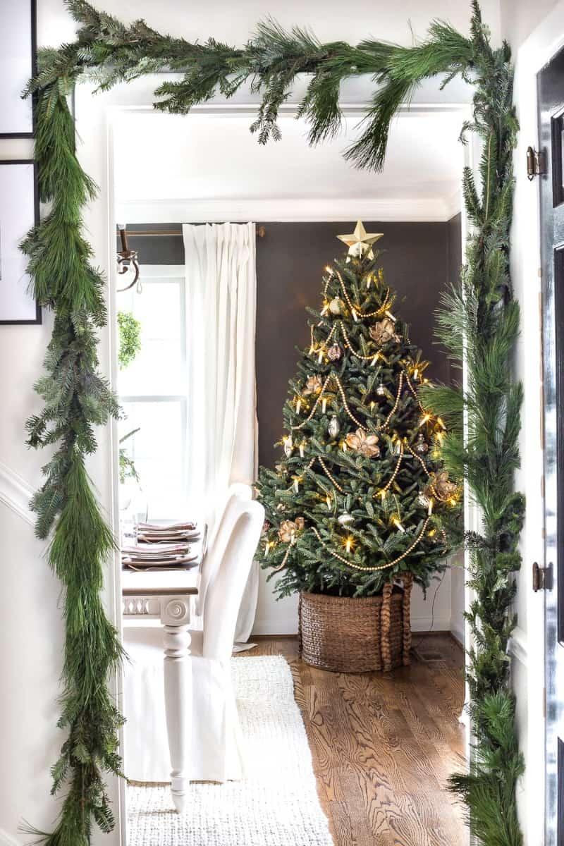A minimalist christmas tree with farmhouse decor