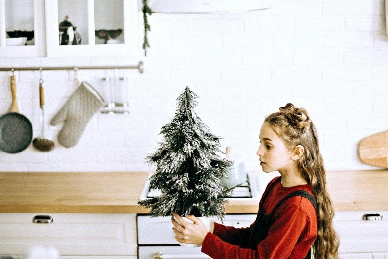 A girl holding a miniature minimalist Christmas tree
