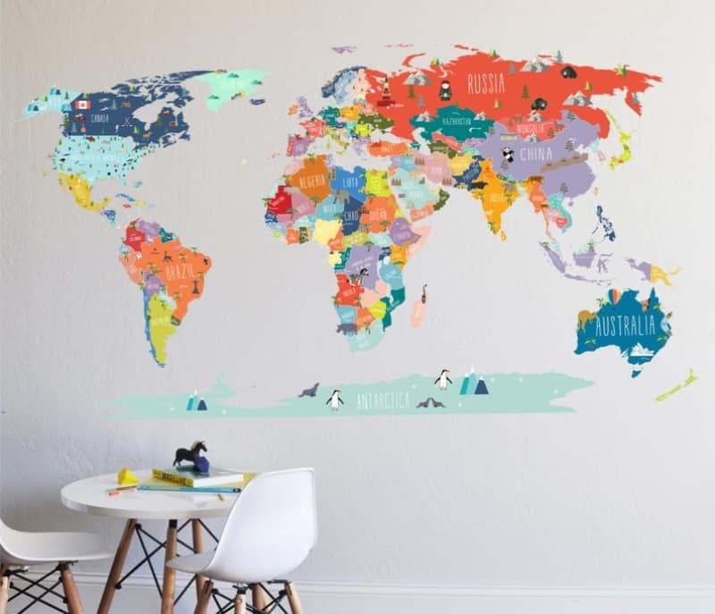 A colorful world map for child's bedroom