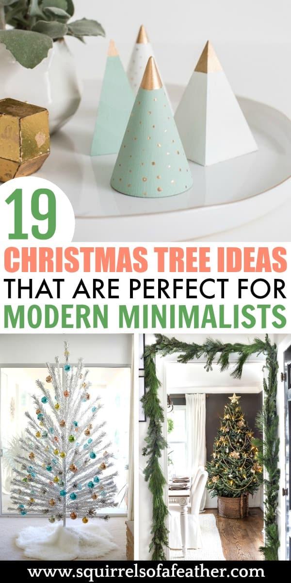 Three modern minimalist Christmas trees