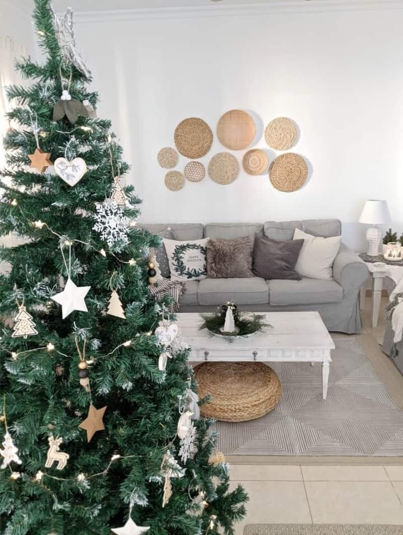 A scandinavian minimalist Christmas tree with ornaments