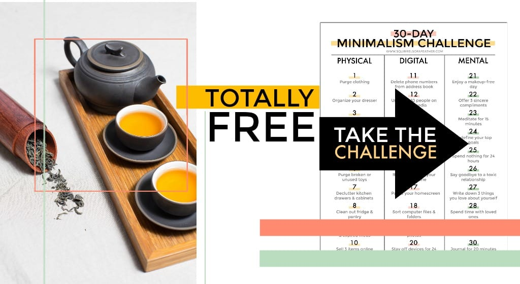 A beautiful tea set next to a minimalism challenge printable PDF