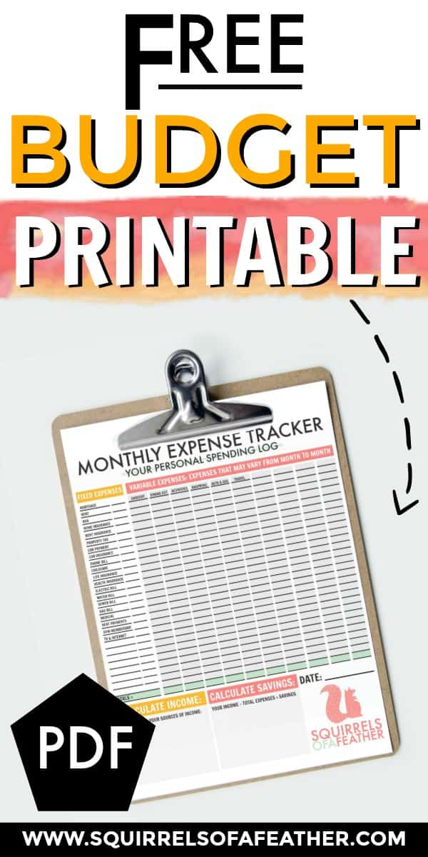 An arrow pointing to a printable monthly expense tracker on a clipboard