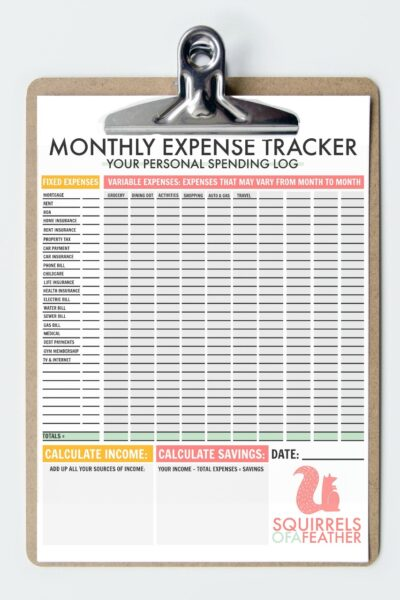 Close up of a monthly budget printable expense tracking worksheet