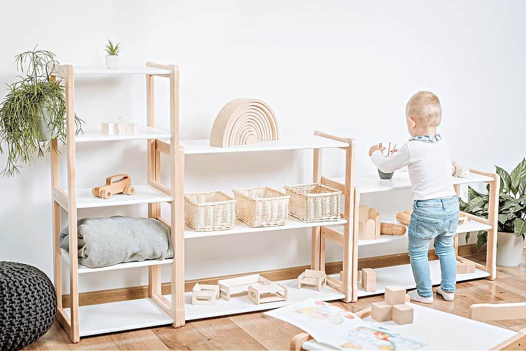 A minimalist kids toy shelf