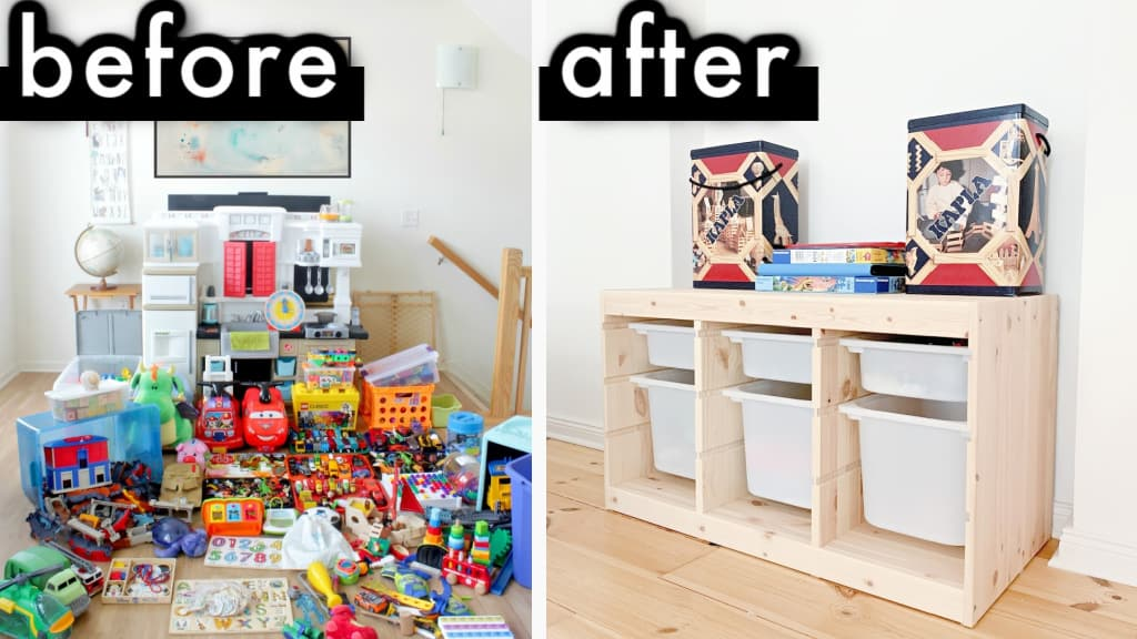 Before and after minimalism with kids