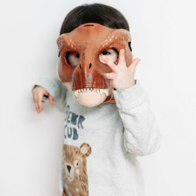 A minimalist boy wearing a dinosaur mask