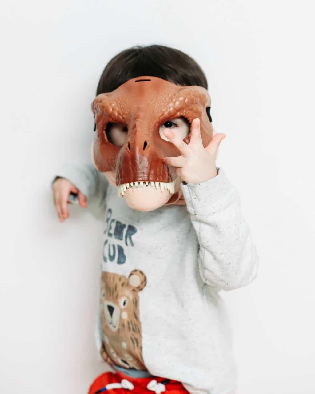 A minimalist boy wearing a dinosaur mask