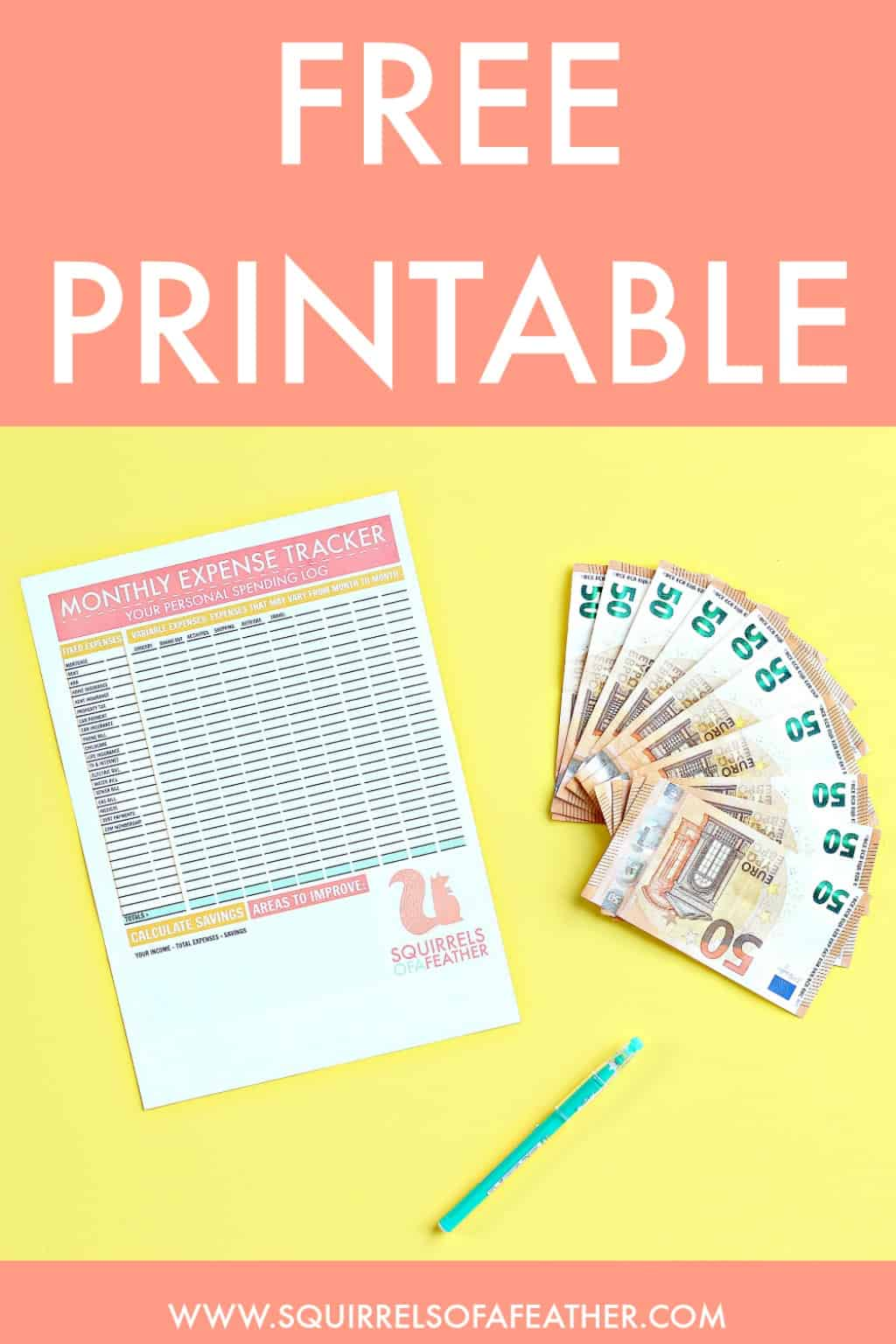 A free printable monthly budget tracking printable on a table with money