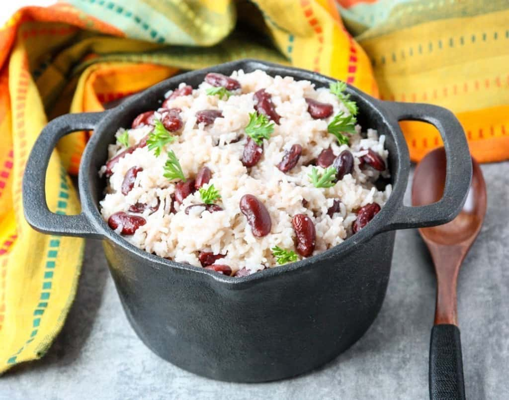 A pot of coconut red beans and rice