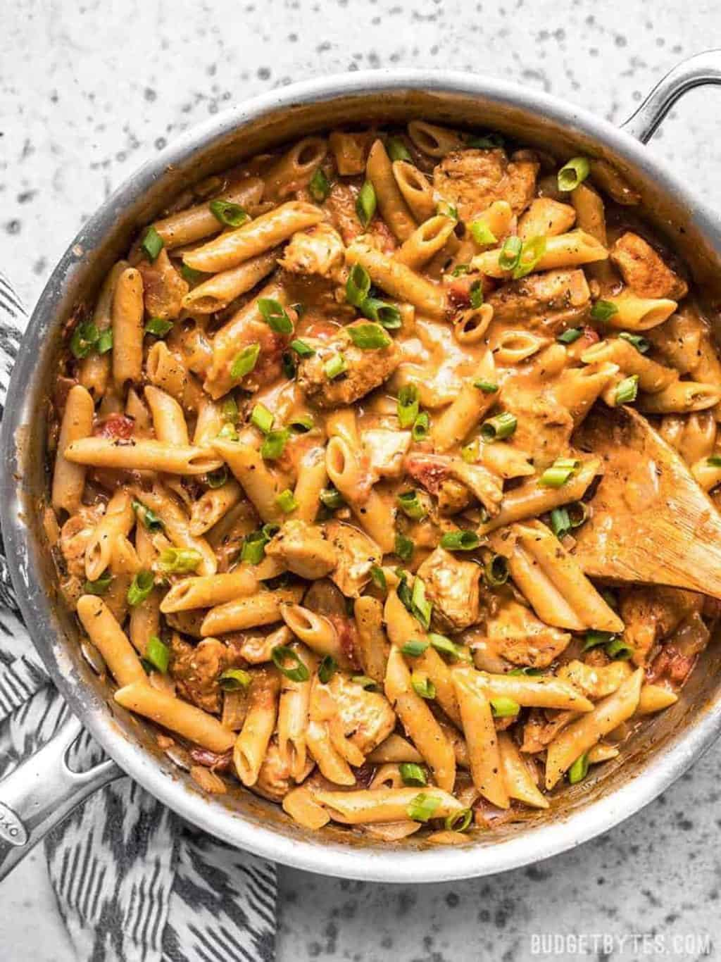 Flat lay of a spicy pasta dinner in a pan