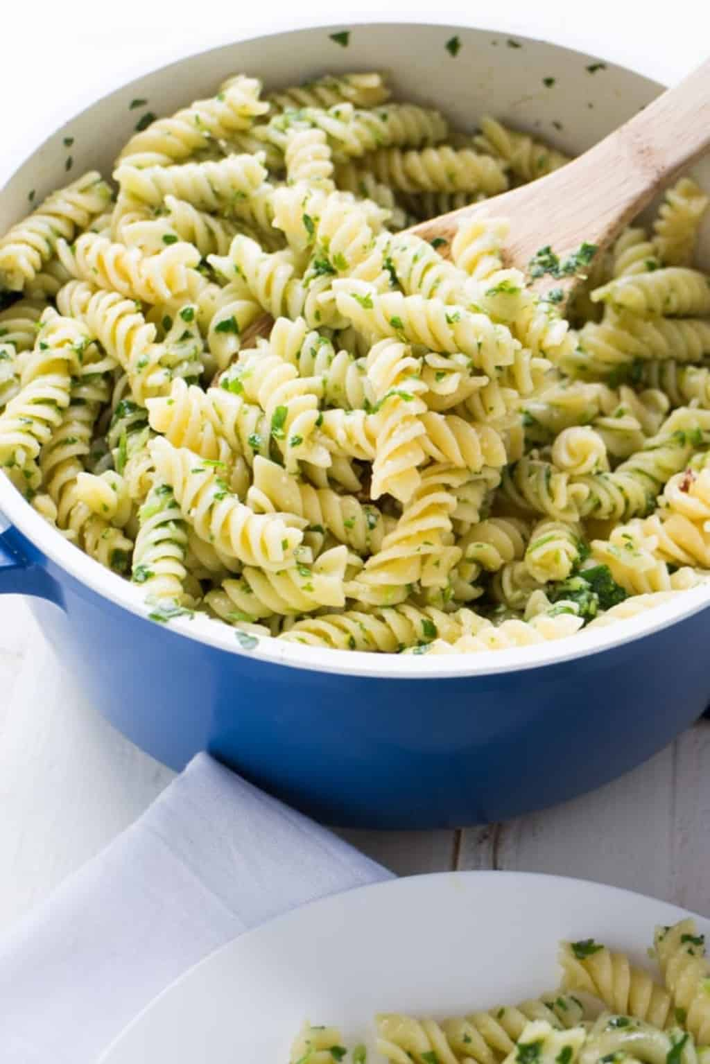 Close up of pasta in a blue dish