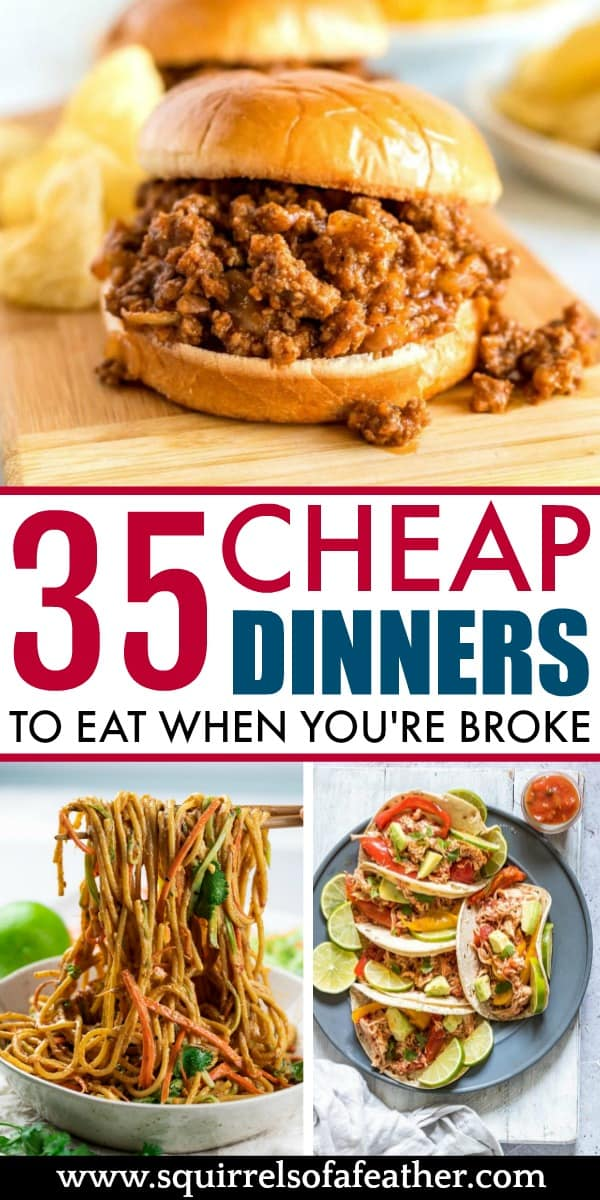A infographic with ideas for cheap dinners