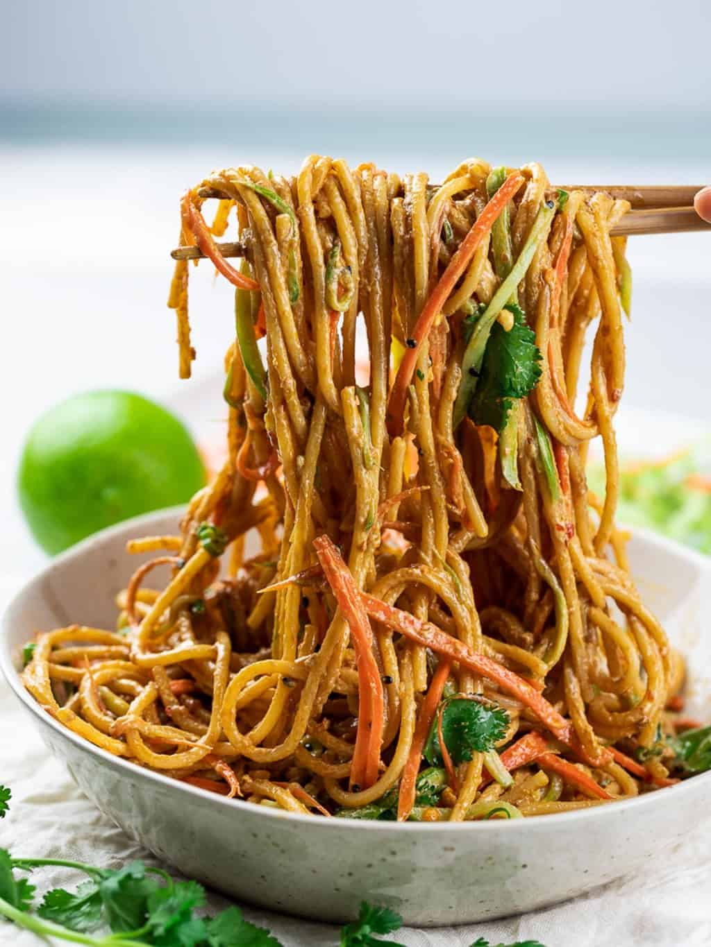 Vegan Thai noodles made with peanut butter and spaghetti