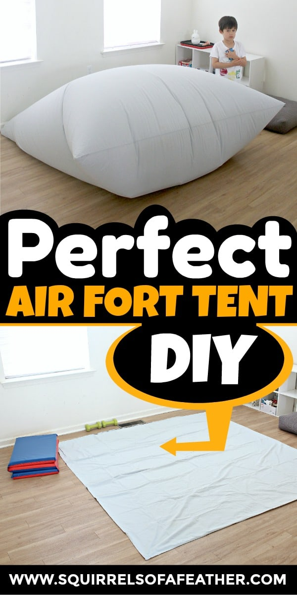 A close up of how to make an air fort kids tent at home.