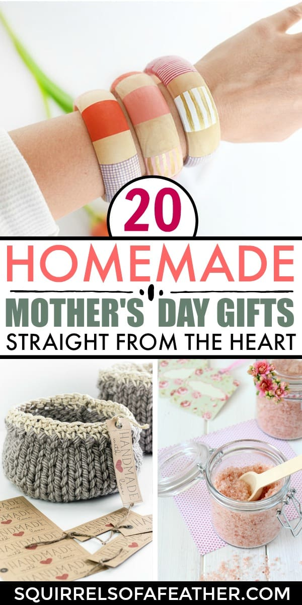 Three beautiful homemade mother's day gifts on display