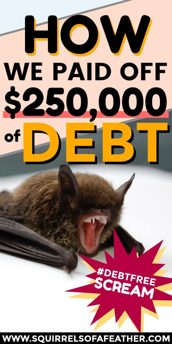 "A bat with an open mouth and a funny ""debt-free"" sign next to him"